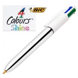 Penna a sfera scatto 4 colors Shine Silver Bic